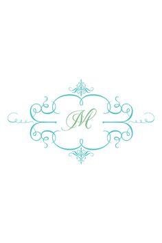 Monogram Phone Wallpaper Gorgeous Turquoise Aqua Blue Floral Sketch
