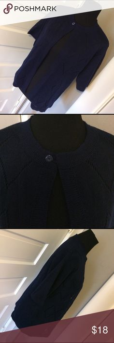 """Vintage open style navy Cardigan So cute! Open style knit Cardigan that fits variety of sizes. Measures 16.5"""" across shoulders! Vintage Sweaters Cardigans"""