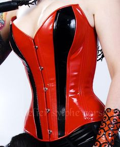 07d7c1b74c517 Overbust corset in red black PVC vinyl pointed bust cut for fantasy  victorian line  214.00 USD