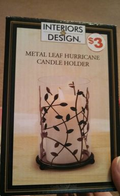 Metal Leaf Hurricane Candle Holder