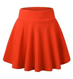 Made By Johnny Women's Basic Versatile Stretchy Flared Casual Mini Skater Skirt Plus Size-Made in USA Long Skirt Formal, Long Circle Skirt, Long Lace Skirt, Black Circle Skirts, Long A Line Skirt, Red Skirts, Mini Skirts, Yellow Skirts, Ruffle Skirt