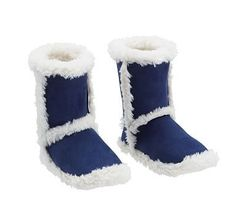 Suede Sherpa Slippers, Medium, Navy