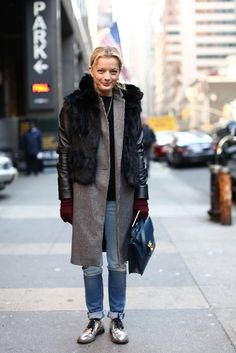 This Is It — Over 400 of The Best Looks to Hit the Streets at NYFW: Our fashion and beauty director, Melissa Liebling-Goldberg, styled bright outerwear, pops of print, and a sweet crossbody bag all in just the right doses.: Miroslava Duma wowed in a creamy white, ladylike ensemble. : Fur countered a smart coat and metallic oxfords.