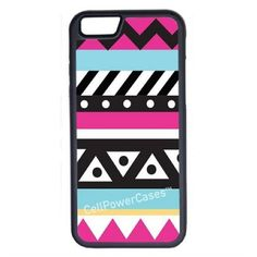 CellPowerCasesTM Pink Aztec Pattern iPhone 6 (4.7) Protective V1 Black... ($13) ❤ liked on Polyvore featuring accessories, tech accessories and black