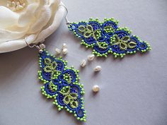 Bright summer earrings, tatted lace earrings, blue and Lime green earrings, Lime green jewelry, bright jewelry Tatting Jewelry, Lace Jewelry, Tatting Lace, Handmade Jewelry, Tatting Earrings, Lace Earrings, Lace Necklace, Green Earrings, Crochet Earrings