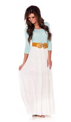nice Light Mint White Maxi Dress | Affordable Modest Boutique Clothes for Women | Trendy Modest Church Dresses