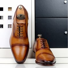 Handmade Men's Shoes by PAUL PARKMAN: Handmade mens brown oxfords