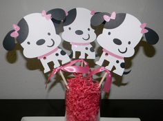 Puppy Centerpiece - Set of 3 - Centerpiece Picks - Girly. $9.00, via Etsy.