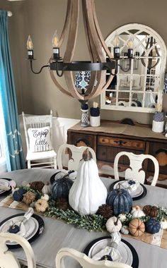My non traditional fall home tour, Navy blue pumpkins in dining room - Table Settings Fall Dining Table, Dining Room Table Decor, Dining Room Design, Room Decor, Dining Rooms, Rustic Table, Table Furniture, Furniture Design, Blue Fall Decor