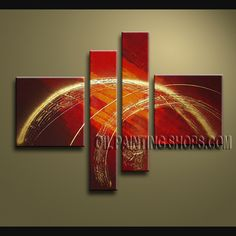 Amazing Modern Abstract Painting Hand-Painted Art Paintings For Living Room Abstract. This 4 panels canvas wall art is hand painted by V.Chua, instock - $172. To see more, visit OilPaintingShops.com