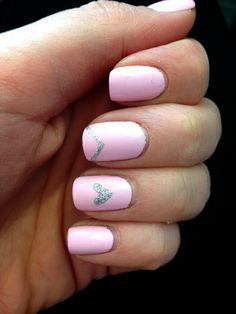 V-Day nails! #nailart pink, silver, heart, pretty pink nails