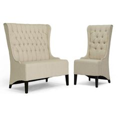 @Overstock.com - Vincent Beige Linen Loveseat Bench/ Chair Set - Give your living room a vintage feel with this modern loveseat bench and side chair with light linen upholstery that beautifully contrasts ebony-stained legs. The high-backed set has an elegant look that makes it as much a piece of art as it is seating.  http://www.overstock.com/Home-Garden/Vincent-Beige-Linen-Loveseat-Bench-Chair-Set/6805994/product.html?CID=214117 $764.99