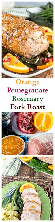 Orange Pomegranate Rosemary Pork Roast makes a fabulously delicious and easy dinner for a holiday, such as Thanksgiving, Christmas, or Easter – or any day – to share with family and friends. Slow Cook Pork Chops, Slow Cooker Pork, Pork Roast, Pork Dishes, Tasty Dishes, Pork Recipes, Cooking Recipes, Cooking Pork, Dinner Entrees