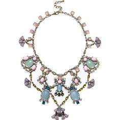 Pink jewel embellished statement necklace - necklaces - jewellery - women