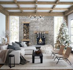 Pottery Barn (@potterybarn) posted on Instagram • Dec 10, 2020 at 6:00pm UTC Pottery Barn Couch, Extravagant Homes, Home Fireplace, Fireplaces, Cozy Christmas, Simple Christmas, Christmas Decor, Beautiful Space, Elle Decor