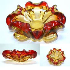 Mirano Art Glass multi color Unique Dish Ashtray. great red and yellow colors $65.00 FREE SHIPPING