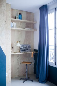 Budget Friendly Boutique Hotel In Paris With Trendy Decor Hotel Henriette Mouffetard Boutique Design, A Boutique, Hotel Henriette Paris, Plywood Walls, Plywood Desk, Creative Office Space, Studio Room, House Wall, Paris Hotels