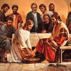 Jesus ministers to his apostles