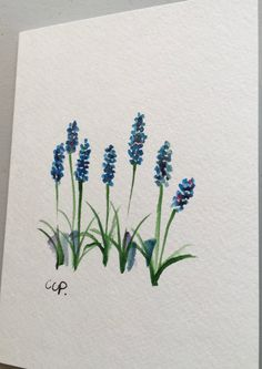 Grape Hyacinths Watercolor Card / Hand Painted by gardenblooms
