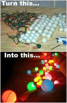 Use Christmas lights and ping pong balls, easy and cheap