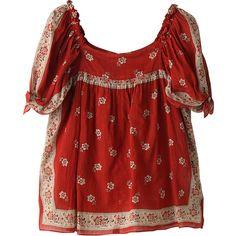 バナー バレット バンダナプリントブラウス (126.190 CLP) ❤ liked on Polyvore featuring tops, blouses, shirts, shirt blouse, red top, red shirt and red blouse