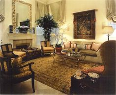 SUZANNE MYERS ELITE INTERIOR DESIGN: Old World living room for a growing family in a contemporary home.