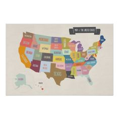 Shop Illustrated Map of America 24 x Wall Poster created by mrprintables. Personalize it with photos & text or purchase as is! Map Globe, Custom Posters, Poster Wall, Kids Learning, Custom Framing, Illustration Art, Ideas, Drawings, Creative