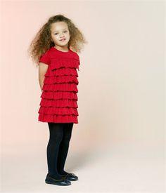 Robe fille manches courtes à volants en jersey léger rouge Amour - Petit Bateau