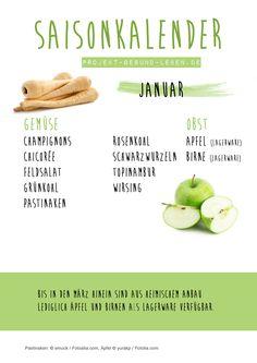 Saisonkalender Januar - Den praktischen PDF-Download findest du auf dem Blog! | Projekt: Gesund leben | Clean Eating, Fitness & Entspannung