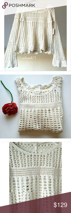Free People Annabelle Crochet  Pullover (Ivory) Free People Annabelle Crochet Pullover. Creamy ivory color, with open knit and scalloped hem. Scoop neck and back, with long bell raglan sleeves.  Fabric: 55% ramie, 45% cotton Free People Sweaters