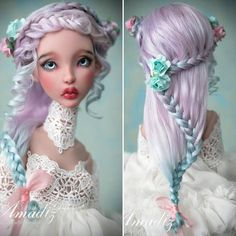 Mint & roses (bjd wig) available for order on our Etsy! Doll on the photo - Cerisedolls Ellana  #amadiz #amadizstudio #handmade #bjdwig #bjd #dollstagram #etsy #doll #balljointeddoll #dollwig #iplehouse #dolls #dollwig #bjdmohairwig #mohairwig #angorawig #bjddoll #abjd #dollclothes #bjdclothes #bjdoutfit #dollhobby #dollcollector #hairstyle #hair #roses #dollphotography #inspirehairstyles Doll Hairstyles, Mo Hair, Making Dolls, Doll Makeup, Figure Model, Collector Dolls, Bjd Dolls, Ball Jointed Dolls, Beautiful Dolls