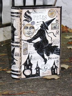 Large Vintage Paper Mache Halloween Witch's Book