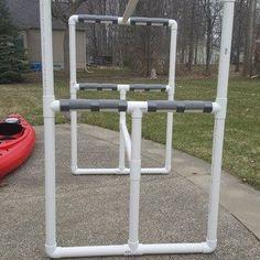 How to Make an Outdoor Kayak Storage Rack : 7 Steps - Instructables Diy Kayak Storage, Boat Storage, Storage Racks, Storage Ideas, Garage Storage, Kayak Holder, Kayak Rack, Canoe And Kayak, Kayak Fishing