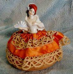 Vintage DECO Antique GERMANY Half Doll PIN CUSHION Rare German Porcelain RETRO | eBay