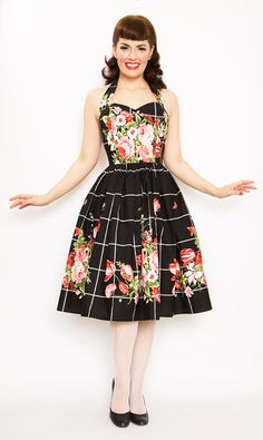 Rockabilly Girl by Bernie Dexter**50s Style Belle Bouquet Swing Dress - Unique Vintage - Pinup, Holiday & Prom Dresses.