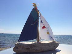 Sailboat driftwood driftwood yacht boat by hippiefishbeachart