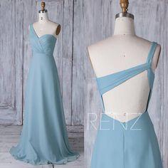 2017 Dusty Blue Chiffon Bridesmaid Dress Long, One Shoulder Wedding Dress, A Line Prom Dress, Backless Ball Gown Full Length (H436)