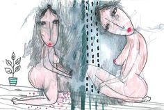 Wonky Drawing erotic Original watercolor drawing, woman painting, original bedroom decor, woman wall art, watercolor painting, original art