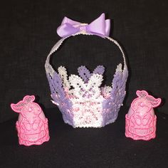 Free standing lace bunny basket and egg holders