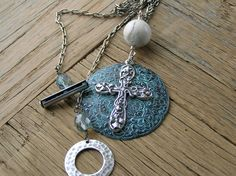 Turquoise Pendant Necklace Silver Cross by MoreThanWeCanImagine, $33.00