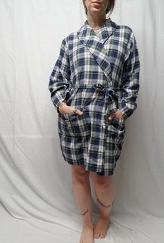 8d117150ec PAJAMAGRAM Womens M L Short Cotton Flannel Robe Tartan Plaid Green White  Blue  Pajamagram