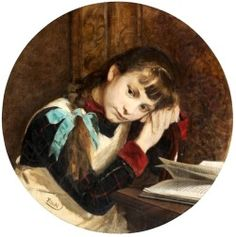 """""""A Girl With a Book"""" by Tytus Seweryn Pilecki (Polish;1840-1906); The Lithuanian Art Museum."""