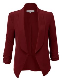 d516e88b2cf2 LE3NO Womens Lightweight Ruched 3 4 Sleeve Open Front Blazer Jacket Visit  http