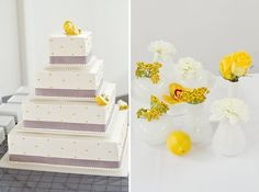 Gorgeous cake with yellow details {Photo by KIM+PHIL Photography}