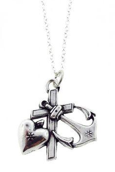 """""""Hope, Faith, & Charity"""" Charm Necklace"""