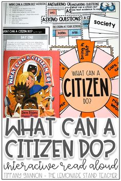 "Looking for engaging activities for kids to practice asking and answering questions? Make teaching these literacy skills even more fun using ""What Can A Citizen Do?"" and these hands on activities, anchor charts, graphic organizers, and digital lessons. Click the pin to see ALL the fun included!"