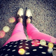 polka dots + pink + sperrys