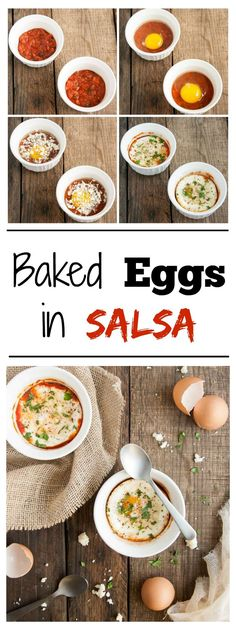 Easy and delicious baked eggs in salsa are an effortless fun, spicy twist on breakfast. Baking in ramekins makes for perfect portion control too! - Feasting Not Fasting