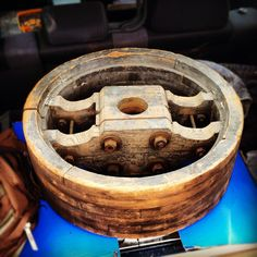 Got an old mill pulley wheel that I'm turning into a table