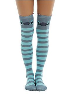 When Stitches on your knees are a good thing! // Disney Lilo Stitch Stripe Stitch Over The Knee Socks